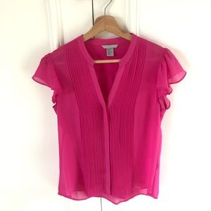 H&M Pleated Sheer Button Up Blouse